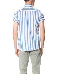 Scotch & Soda - Blue Short Sleeve Stripe Shirt for Men - Lyst