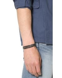 Cause and Effect - Black Brushed Leather Wrap Bracelet for Men - Lyst