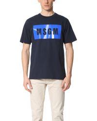 MSGM - Blue Box Logo Tee for Men - Lyst