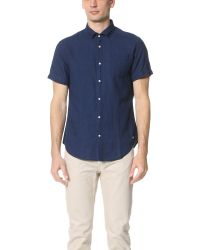 Scotch & Soda - Blue Short Sleeve Crinkled Linen Shirt for Men - Lyst