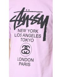 Stussy - Pink World Tour Tee for Men - Lyst