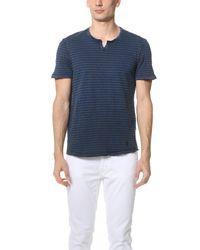Calvin Klein Jeans - Blue Acid Wash Slit Neck Tee for Men - Lyst