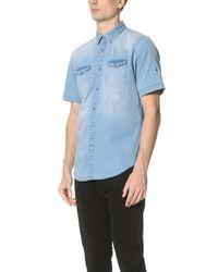 Calvin Klein Jeans - Blue Medium Wash Denim Short Sleeve Shirt for Men - Lyst