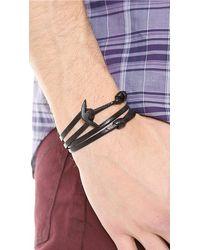 Miansai - Black Anchor Leather Wrap Bracelet for Men - Lyst