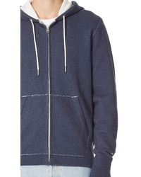 Rag & Bone - Blue Standard Issue Zip Hoodie for Men - Lyst
