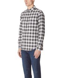 Club Monaco - Gray Slim Flannel Plaid Shirt for Men - Lyst