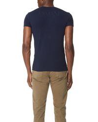 Emporio Armani - Blue Mega Logo Slim Fit Tee for Men - Lyst