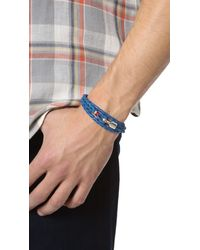 Miansai - Blue Trice Woven Leather Wrap Bracelet for Men - Lyst