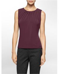 Calvin Klein - Purple White Label Pleated Scoopneck Sleeveless Top - Lyst