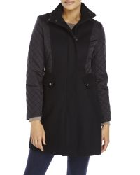 Kenneth Cole | Black Quilted Sleeve Coat | Lyst