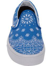 Vans   Blue Bandanaprint Classic Slipon Sneakers for Men   Lyst