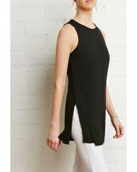 Forever 21 | Black Ribbed Knit Vented Tank | Lyst