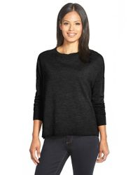 Eileen Fisher - Black Bateau Neck Merino Top - Lyst