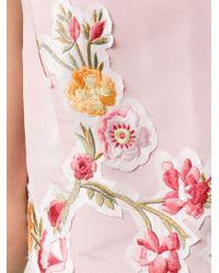 Oscar de la Renta - Pink Floral Embroidered Appliqué Dress - Lyst