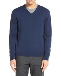Calibrate | Blue Silk Blend V-neck Sweater for Men | Lyst