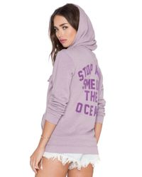 Wildfox - Purple Stop & Smell The Ocean Hoodie - Lyst