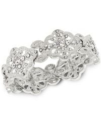 2028 | Metallic Silver-tone Crystal Accent Filigree Stretch Bracelet | Lyst
