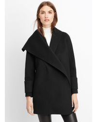 Vince - Black Wool Drape Front Coat - Lyst