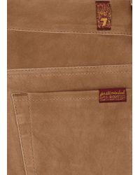 7 For All Mankind - Natural Camel Skinny Suede Trousers - Lyst