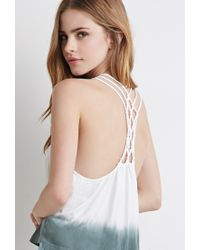 Forever 21 - Gray Dip-dye Macramã©-back Top You've Been Added To The Waitlist - Lyst