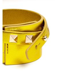 Valentino - Yellow Rockstud Double Wrap Leather Bracelet - Lyst