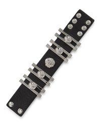 Versus - Black Lion-embellished Leather Cuff for Men - Lyst