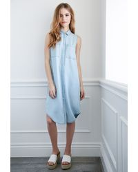 Forever 21 | Blue Longline Chambray Shirtdress | Lyst