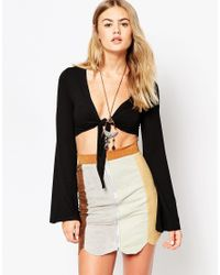 ASOS | Black 70s Crop Top With Tie Front And Bell Sleeve | Lyst