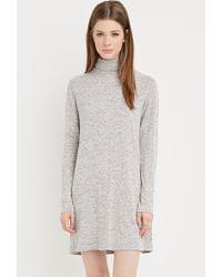 Forever 21 | Gray Heathered Turtleneck Shift Dress | Lyst