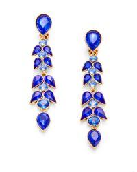 Oscar de la Renta - Blue Crystal Wisteria Linear Earrings - Lyst