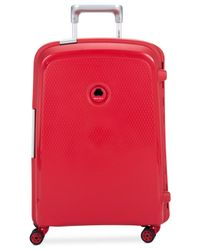 "Delsey | Red Closeout! 60% Off Belfort Plus Hardside 21"" Carry On Spinner Suitcase for Men 