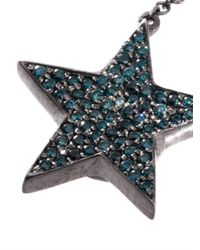 Nikos Koulis | Blue Diamond Rhodiumplated Gold Earring | Lyst