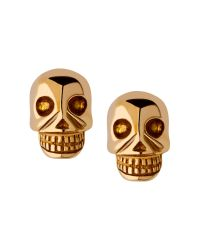 Links of London | Metallic Yellow Gold Vermeil Mini Skull Stud Earrings | Lyst