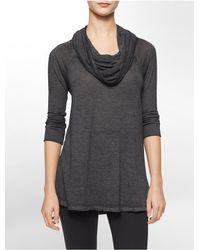 Calvin Klein - Black White Label Performance Funnel Neck 3/4 Sleeve Tunic - Lyst