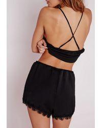 Missguided - Satin Lace Pyjama Set Black - Lyst