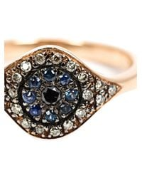 Ileana Makri | Black 'cats Eye' Diamond And Sapphire Ring | Lyst