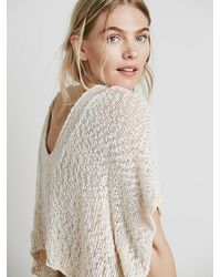 Free People | White Womens Slubby Poncho Sweater | Lyst