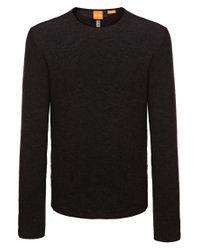 BOSS Orange - Gray 'kampione' | Virgin Wool Melange Sweater for Men - Lyst