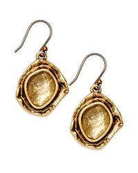 Lucky Brand - Metallic Lucky Earrings Goldtone Glass Stone Drop Earrings - Lyst