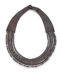 Peserico | Blue Mixed Bead & Leather Necklace | Lyst