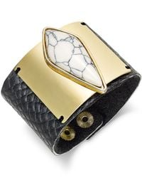 INC International Concepts | Black Gold-tone Marble Print Stone Cuff Bracelet | Lyst