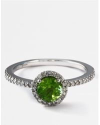 Effy | Green 14 Kt. White Gold Peridot And Diamond Ring 0.22 Ct. T.w. | Lyst