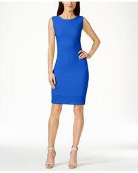 Calvin Klein - Blue Textured Sheath Dress - Lyst