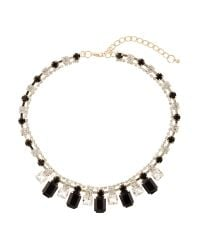 Mikey | Black Hanging Crystals Linked Necklace | Lyst