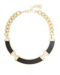 BCBGMAXAZRIA | Black Faux Leather And Plated Chain Necklace | Lyst