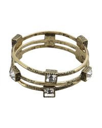 R.j. Graziano - Metallic Set Of Three Gold And Crystal Thin Bangles - Lyst