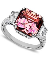 Arabella - Metallic Pink And White Swarovski Zirconia Princess Cut Ring (10-1/10 Ct. T.w.) - Lyst