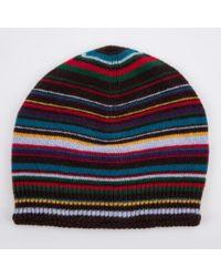 Paul Smith - Black Multistripe Beanie Hat for Men - Lyst