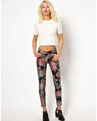 Just Female - Multicolor Skinny Jean in Dark Floral Print - Lyst