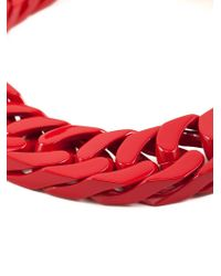 Sacai - Red Chunky Curb Chain Necklace - Lyst